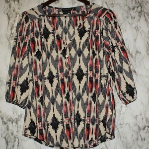 Aztec Tribal Inspired Print Blouse Top Medium